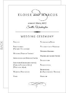 Elegant Typography Wedding Program