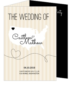 Cream And Black United States Map Small  Wedding Program
