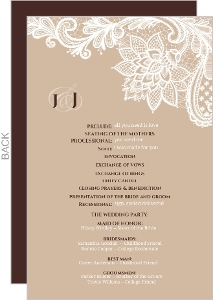Brown And White Floral Lace Wedding Program