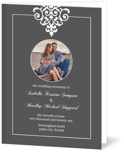 Gray and Elegant White Flourish Wedding Program