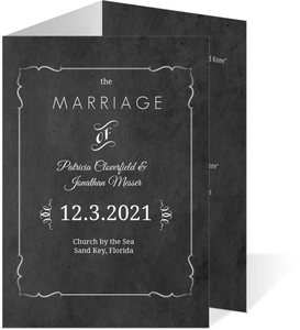Vintage Chalkboard Photo Wedding Program