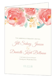 Pink Elegant Watercolor Flower  Wedding Program