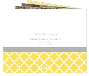 Yellow and Gray Pattern  Wedding Program