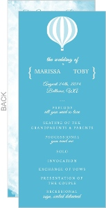 Blue Journey Of A Lifetime Wedding Program