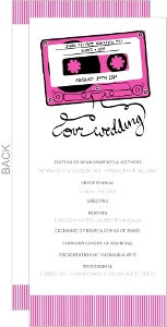 Pink and Gray Mixed Tape Wedding Program