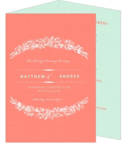 Coral and Mint Country Floral  Wedding Program
