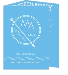 Modern Geometric Lines Blue and White  Wedding Program