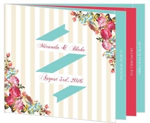Floral Tan Stripes Wedding  Program Booklet
