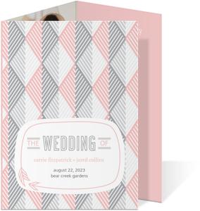 Pink And Gray Geometric Arrows Wedding Program