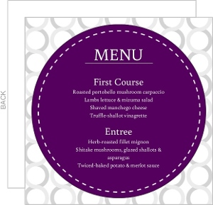 Plum And Silver Wedding Menu