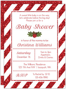 Striped Red Glitter Christmas Baby Shower Invitation