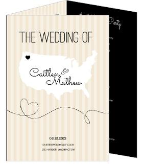 Cream And Black United States Map  Wedding Program