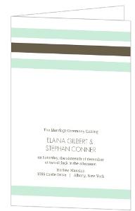 Mint And Brown Soft Stripes Wedding Program