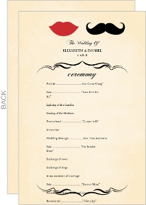 Vintage Mustache Wedding Program