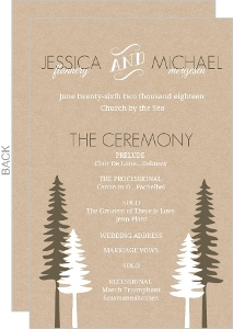 Rustic Pine Trees  Wedding Program
