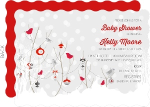 Winter Birds And Snow Baby Shower Invitation