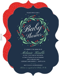 Whimsical Mistletoe Wreath Christmas Baby Shower Invitation