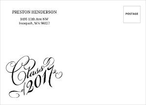 Elegant Typography Class of 2017 Envelope