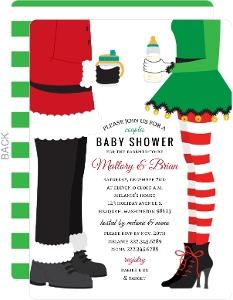 Santa & Elf Couples Baby Shower Invitation