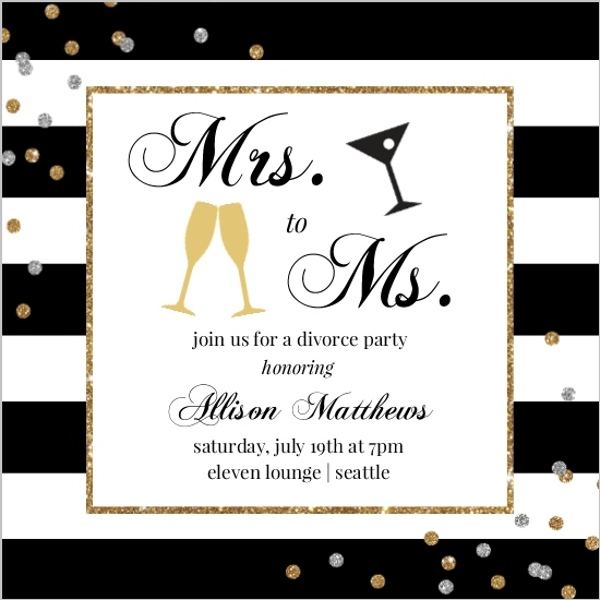 Mrs to Ms Divorce Party Invitation Divorce Announcements