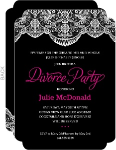 Black and Pink Flourish Divorce Party Invitation