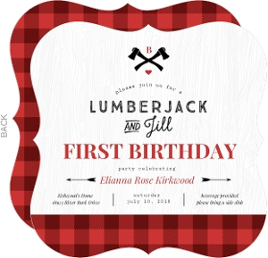 Lumberjack And Jill First Birthday Party Invitation