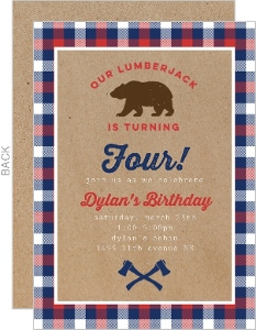 Lumberjack Bear Birthday Party Invitation