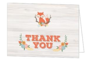 Cute Fox Woodland Baby Shower Thank You Card
