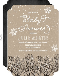 Rustic Kraft Winter Baby Shower Invitation