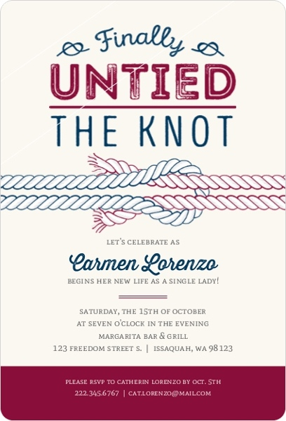 Finally Untied The Knot Divorce Party Invitation Divorce