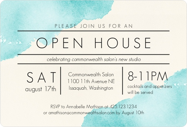 modern watercolor corporate open house invitation business open house invitations. Black Bedroom Furniture Sets. Home Design Ideas