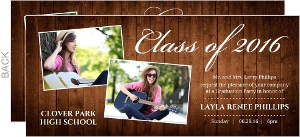 Rustic Wood Grain Collage Graduation Invitation