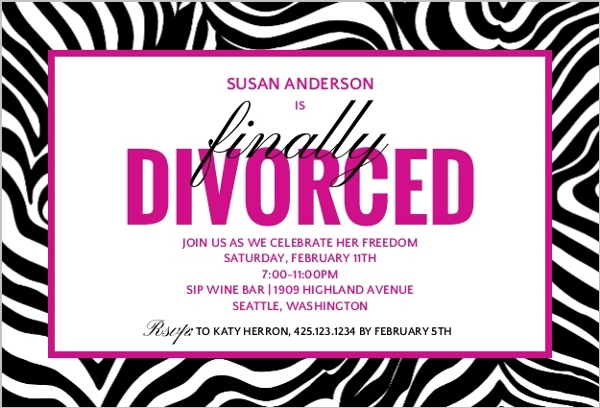 Finally Divorced Party Invitation Divorce Announcements