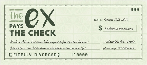 The Ex Pays The Check Divorce Party Invitation Divorce