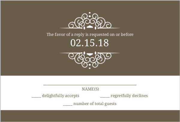 Olive And White Intricate Frame Wedding RSVP Card | Wedding ...