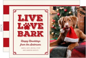 Live Love Bark Dog Holiday Photo Card