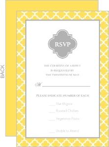 Yellow And Gray Pattern Wedding Response Card