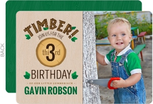 Timber Wood Log Photo Birthday Invitation