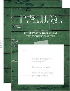 Green Wood Grain Photo  Wedding Response Card