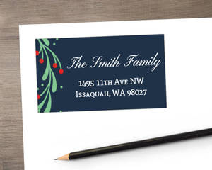 Whimsical Mistletoe Wreath Address Label