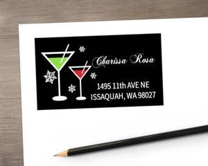 Holiday Cheer Martini Address Label