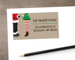 Santa & Elf Holiday Address Label