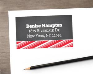 Chalkboard Jolly Red Stripes Address Label