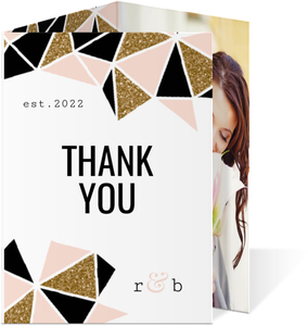 Modern Geometric Glitz Wedding Thank You Card