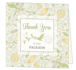 Beautiful Floral Pattern Wedding Thank You Card