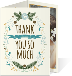 Whimsical Woodland Foliage Wedding Thank You Card