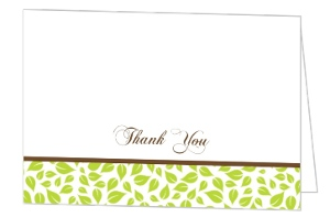 Brown And Green Love Birds Wedding Thank You Card