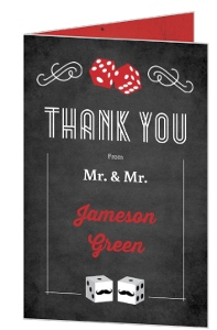 Rustic Las Vegas Chalkboard Gay Wedding Thank You Card