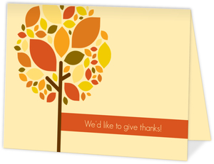 Golden Colored Fall Themed Thank You Cards