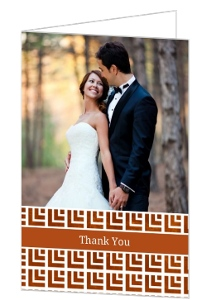 Copper Geometric Pattern Wedding Thank You Card